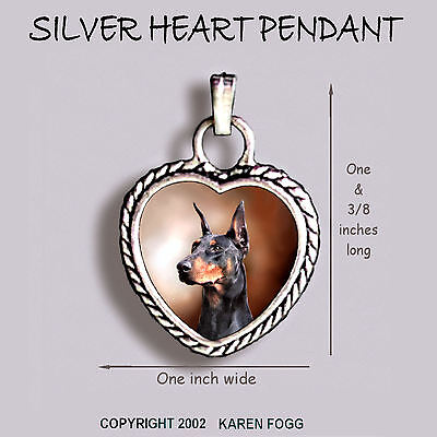 DOBERMAN PINSCHER Black Crop Ear Dobie - Ornate HEART PENDANT Tibetan Silver