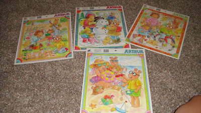 Lot 4 Arthur Marc Brown 25Pc Board Frame Tray Puzzles 4 Seasons