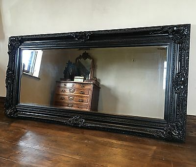 Black Ornate Large French Statement Overmantle Swept Dress Floor Wall Mirror 6ft