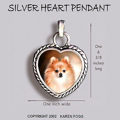 POMERANIAN DOG Red - Ornate HEART PENDANT Tibetan Silver