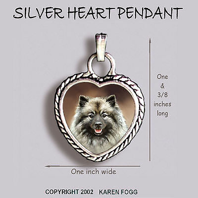 KEESHOND DOG - Ornate HEART PENDANT Tibetan Silver