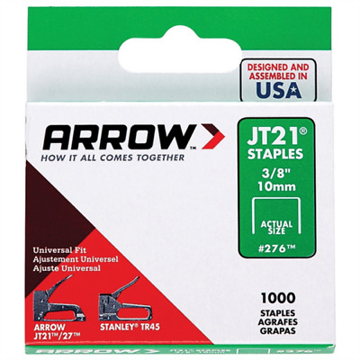 Arrow Fastener JT21 T27 10mm (3/8inch) Staples Box of 1000 #276