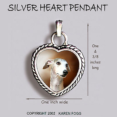 WHIPPET DOG Grey -  Ornate HEART PENDANT Tibetan Silver