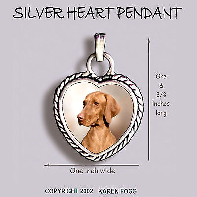 VIZSLA DOG - Ornate HEART PENDANT Tibetan Silver
