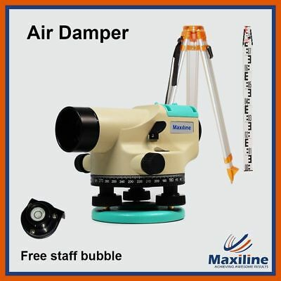 32X Automatic Dumpy Level + Tripod + Staff + Free Staff Bubble Construction Tool