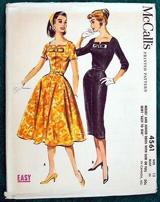 Vintage 1958 McCall's Women's Sewing Pattern 4561 Miss Dress Skirt Sz-13 Bust-33