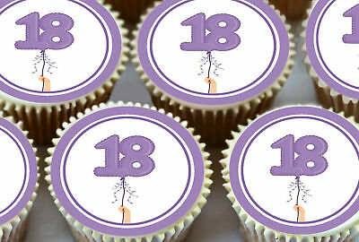 24 x 18TH HAPPY BIRTHDAY BALLOONS LILAC COLOURS EDIBLE CUPCAKE TOPPERS N65