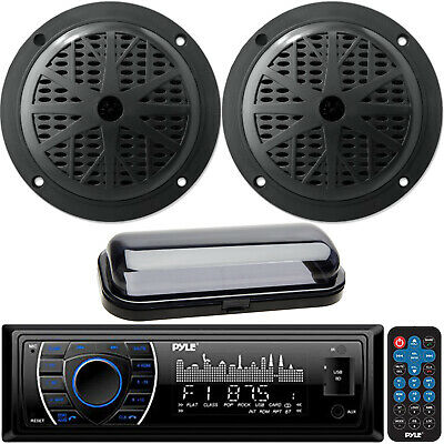 "In-Dash Marine Radio 200W SD Card USB Input 4"" Black Round Speakers Stereo Cover"