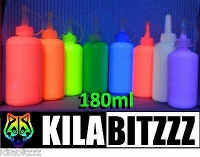 180ml Bright Fluorescent UV Blacklight Neon Fabric Paint - Choose from 8 colours