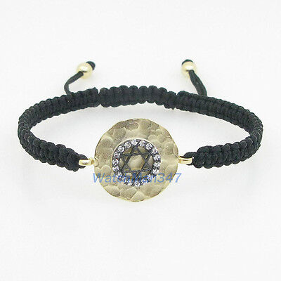 Womens kabbalah evil eye good luck hamsa charm pendant star bracelet LP16d
