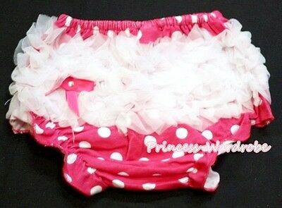 Hot Pink White Dots Baby Girl Bloomer Pantie Brief Pant For Pettiskirt 6m-3Year
