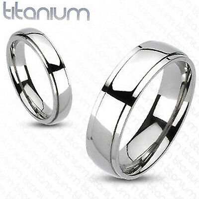 Brand New Solid Titanium Classic Beveled Band Ring / Wedding Band