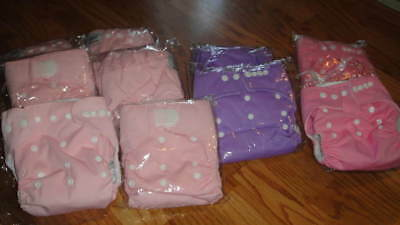 Lot 10 Brand New Cloth Diapers Sz Small Med Large S M L Girl Colors Pink Purple