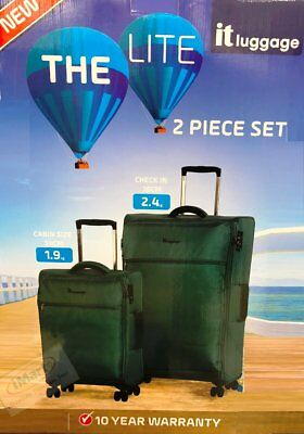 2PC IT Luggage The LITE Trolley Suitcase Carry On Bag Set | Lightweight | Green