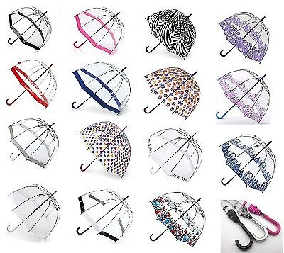 Fulton Birdcage Ladies Walking Length Clear Dome Umbrella Great Range of Prints
