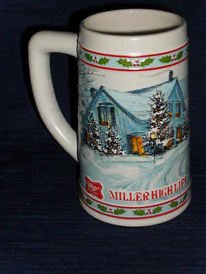 "NICE! 6"" MILLER HIGH LIFE Cermarte Brazil  ceramic Winter Christmas STEIN MUG"