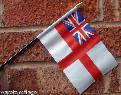 """WHITE ENSIGN Royal Navy HAND WAVING FLAG Small 6"""" x 4"""" with black pole British"""