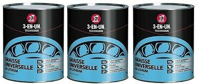 3 X 1 Kg Graisse Universelle Au Lithium 3 En 1 Lubrification Engrenage Roulement