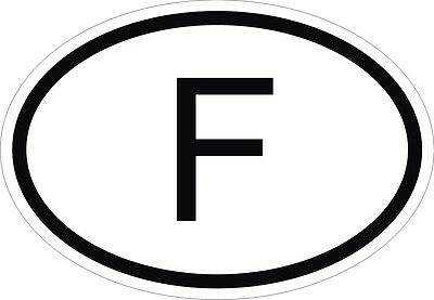 F FRANCE COUNTRY CODE OVAL STICKER bumper decal car NEW
