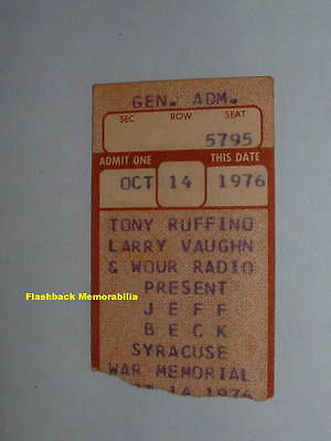 JEFF BECK 1976 Concert Ticket Stub SYRACUSE NY WAR MEMORIAL Very Rare