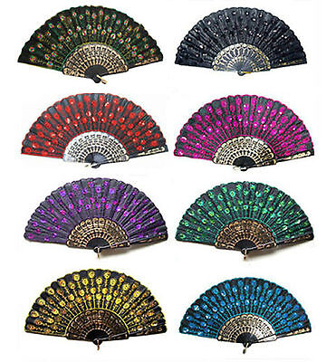 Lots Colors for Choose Lady's Embroider Hand Exquisite Folding Peacock Lace Fan