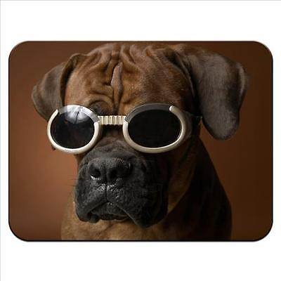 Boxer Dog Wearing Goggles Premium Quality Thick Rubber Mouse Mat Pad