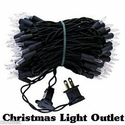 100 Mini Clear/White Christmas Halloween Outdoor String Lights 27ft Black Wire