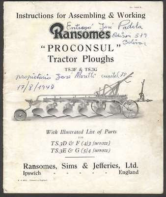 Ransomes Tractor Ploughs TS3F TS3G Instruction Manual 1948