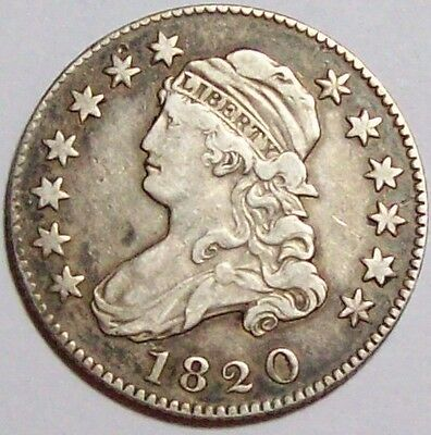 """1820 Large""""O"""" VARIETY CAPPED BUST QUARTER~Early U.S.SILVER~Original Sharp XF"""