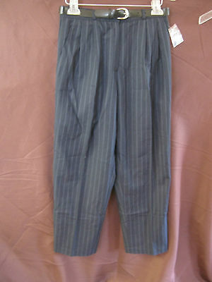 NWOT Vtg 80's Liz Baker Deep Blue Career Pants Size 10P 10 Petite Pleated Front