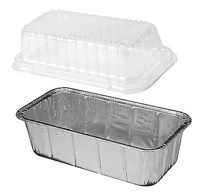 2 lb. Aluminum Foil Loaf Pan w/ Clear Dome Lid 25/PK -Disposable Bread Container