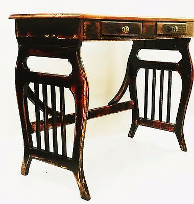 Folk Art Antique Primitive Black Shab Chic Dressing Table Side Table Desk