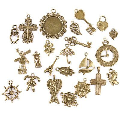 46x 142743 New Wholesale Vintage Bronze Assorted Charms Alloy Pendants Findings
