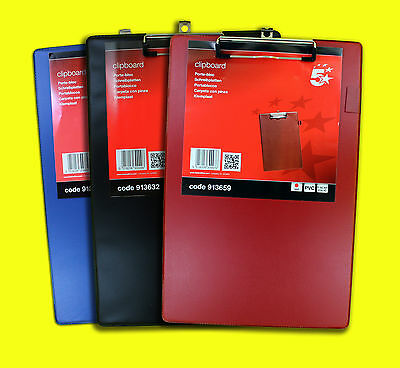 Premium Quality BLACK RED OR BLUE PVC A4 Foolscap Office Clipboard & Pen Holder