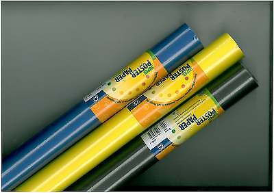 3 Rolls Of 11 metre Poster Paper in a range of assorted colours.