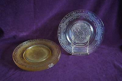 Lot of 6 Macbeth Evans Stippled Rose luncheon plate yellow depression glass
