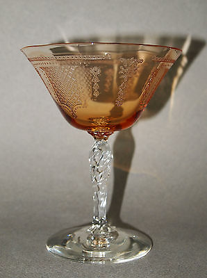 ANTIQUE Fostoria BEVERLY Amber etched CHAMPAGNE Sherbet Glass Twisted Stem MINT!