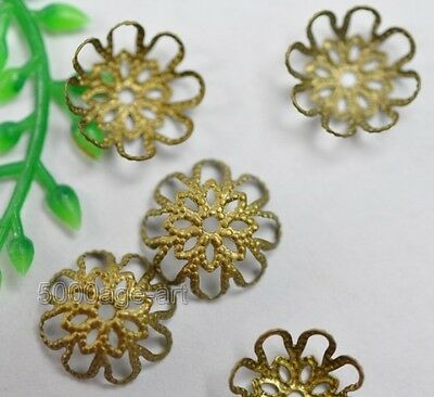 free ship 200Pcs Bronze color Hollow Flower spacer Beads Caps 9mm H7
