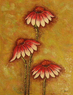 """12""""x16"""" Canvas Wall Art Oil Painting Hand Painted -  Pink Daisies"""