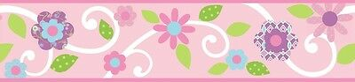 PINK FLORAL SCROLL WALLPAPER BORDER Peel & Stick 15' Floral Baby Girl Nursery