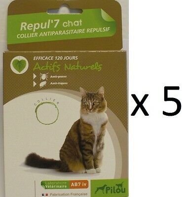 5 COLLIER ANTI TIQUES PUCES POUR CHAT protection maximum