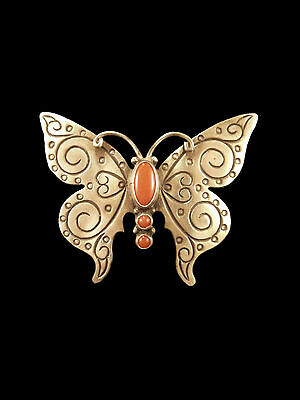 Brushed Sterling Silver and Coral Butterfly Pin - Navajo Handmade