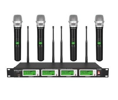 GTD Audio 4x800 Channel UHF Diversity Wireless Handheld Microphone Mic System H