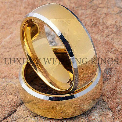 Tungsten Wedding Bands Set 14K Gold Rings Mens & Womens Bridal Jewelry Size 6-13