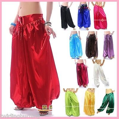 Belly Dance Satin Harem Pants Tribal Style Bollywood Dancing Costume AP07