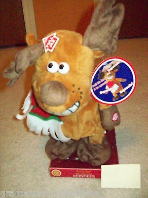 """ANIMATED REINDEER SING AND DANCE PULL HIS HEAD AND HE SQUEALS 12"""" H X 9"""" W NEW"""