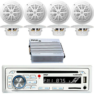 """Dual DIN Marine Bluetooth USB Receiver, 8x 6.5"""" Speakers, 4-Channel Amplifier"""