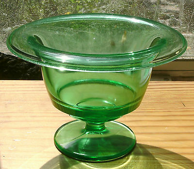Green Uranium Glass Bon Bon or Footed Comport Dish - Very Good Condition