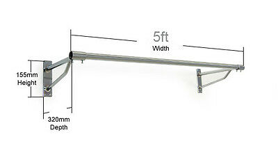 HEAVY DUTY 5ft Long Clothes Rail Wall Mounted Screw Fix Garment Hanging Rack