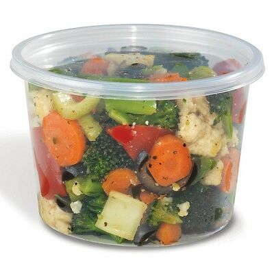 16 oz. Plastic Deli Food Container w/Lids 50 Sets- Round Clear Cups (REF#16CL50)